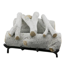 Garden White Concrete Fake Birch Logs For Gas Fireplace S08-62C Extra Sharp